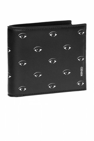 kenzo men black eyes motif bifold wallet