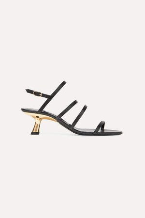 Strappy Tee Leather Slingback Sandals - Black
