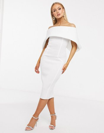 ASOS DESIGN fold front bardot midi pencil dress in ivory | ASOS
