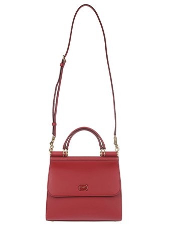 Red Leather Sicily Small Tote Bag