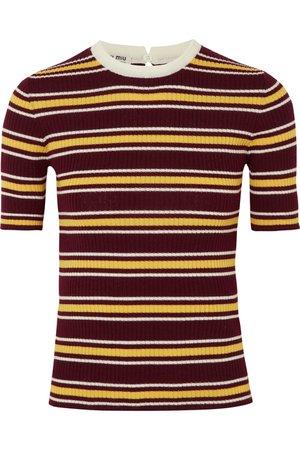 Burgundy Striped ribbed wool sweater | Miu Miu | NET-A-PORTER