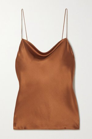Brown The Axel draped stretch-silk charmeuse camisole | Cami NYC | NET-A-PORTER