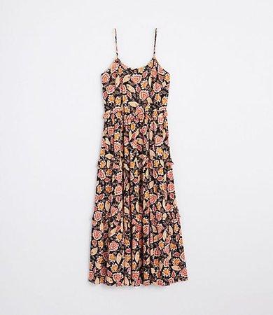 Petite Beach Floral Ruffle Tiered Maxi Dress
