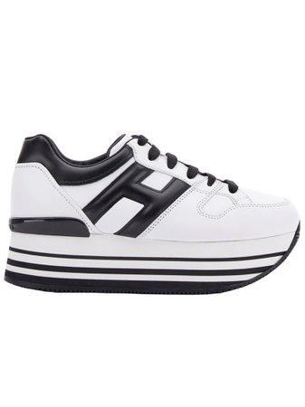 Hogan White Leather Maxiplatform Sneakers