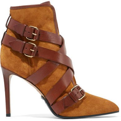Jakie Suede And Leather Ankle Boots - Camel