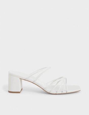 White Strappy Square Toe Sandals   CHARLES & KEITH EU