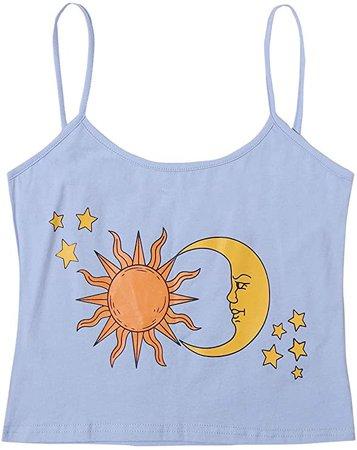 SweatyRocks Women's Crop Cami Top Summer Sleeveless Tank Tops Graphic Camisole at Amazon Women's Clothing store