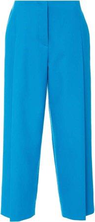 Teli Wide Leg Cotton-Blend Cropped Pants