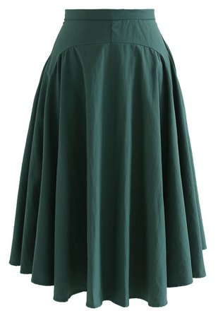A-Line Asymmetric Flare Hem Midi Skirt in Dark Green - Retro, Indie and Unique Fashion