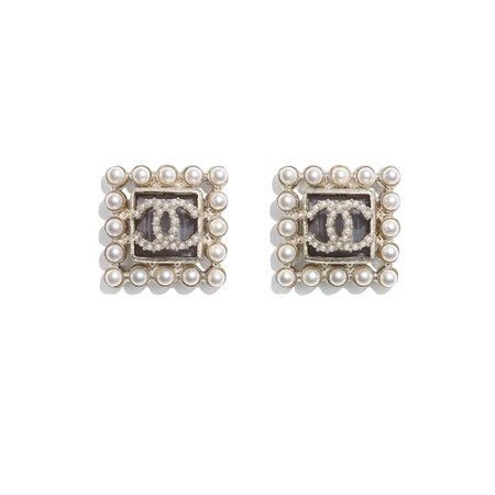 Chanel, earrings Metal, Glass Pearls & Glass Gold, Pearly White & Gray