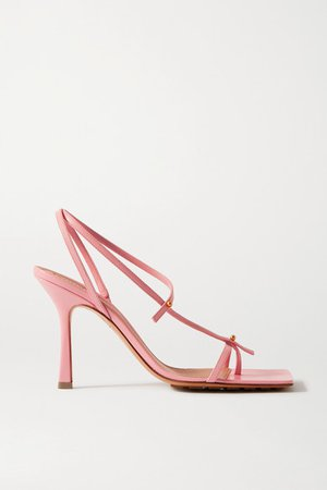 Studded Leather Sandals - Baby pink