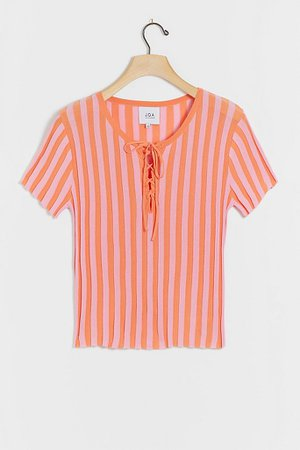 Mandy Lace-Up Knit Tee Striped | Anthropologie