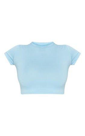 Basic Baby Blue Short Sleeve Crop T Shirt | PrettyLittleThing