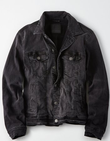 AE Washed Black Denim Jacket, Black | American Eagle Outfitters