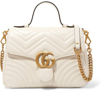Gg Marmont Small Quilted Leather Shoulder Bag - White