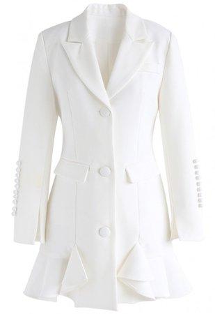 Classy Vogue Peplum Coat Dress in White - DRESS - Retro, Indie and Unique Fashion