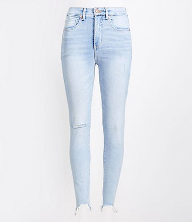Petite Curvy High Rise Step Hem Skinny Jeans in Classic Light Indigo Wash
