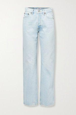90s Distressed High-rise Straight-leg Jeans - Light denim