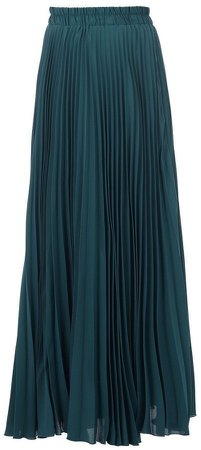 *Jolie Moi Teal Crepe Pleated Maxi Skirt