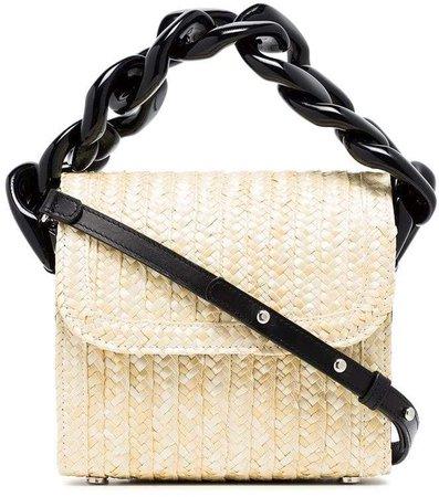 Marques'almeida Neutral Chunky Chain Straw Shoulder Bag