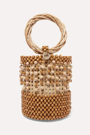 Cora Beaded Wicker Tote - Brown
