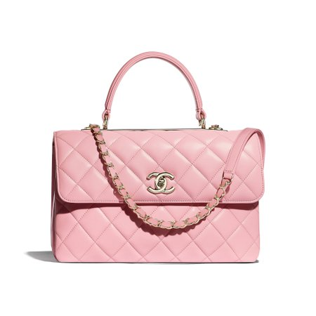 Lambskin & Gold-Tone Metal Pink Flap Bag with Top Handle | CHANEL