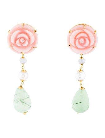 Earrings 18K Opal, Blue Lace Agate, Pearl & Prehnite Drop Earrings - Earrings - EARRI52419 | The RealReal