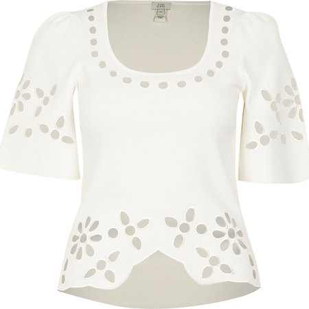White cut work knitted t-shirt | River Island
