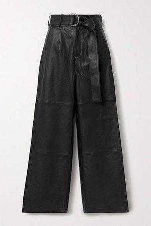 Deadwood - Poppy Leather Wide-leg Pants - Black