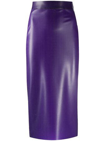 Saint Laurent latex-style Pencil Skirt - Farfetch