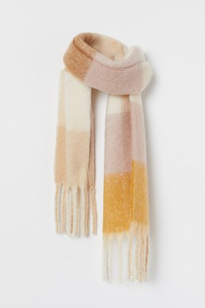 Woven Scarf - Light pink yellow checked - Ladies | H&M US