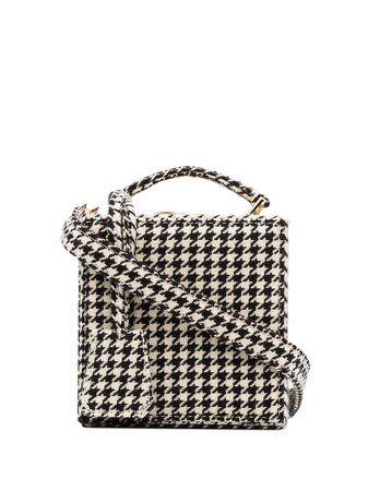 Natasha Zinko Black And White Tweed Wool Box Bag FW1871036 | Farfetch