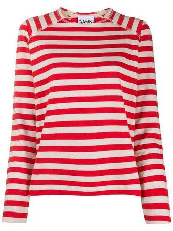 red white striped shirt ganni
