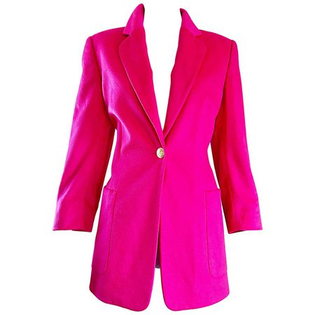 Vintage Escada by Margaretha Ley Hot Shocking Hot Pink Angora Wool Blazer Jacket