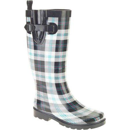 Women's Summer Plaid Printed Tall Rubber Rain Boots - Walmart.com