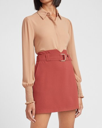 High Waisted Belted Notch Front Mini Skirt