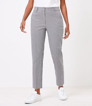 The Petite Curvy High Waist Straight Pant in Gingham Stretch Double Weave