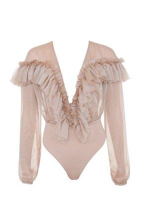 Clothing : Bodysuits : 'Anaya' Beige Ruffle Plunge Bodysuit