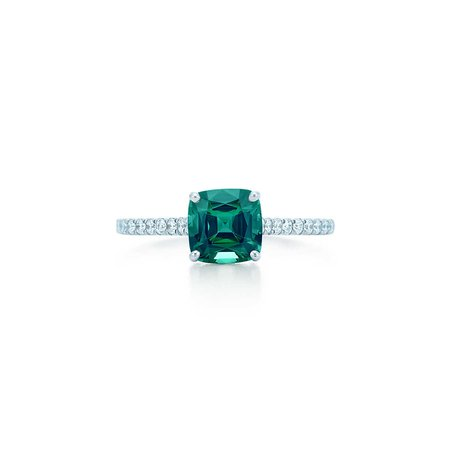Tiffany Legacy® ring in platinum with a green tourmaline and diamonds. | Tiffany & Co.