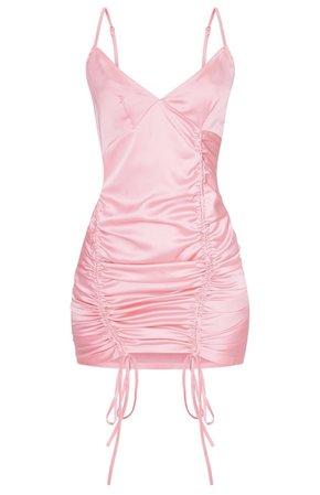 PLT Pink Satin Ruched Dress