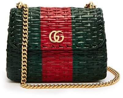 Gg Cestino Woven Wicker Mini Cross Body Bag - Womens - Green Red