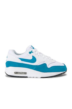 Women's Air Max 1 Sneaker in White & Blue