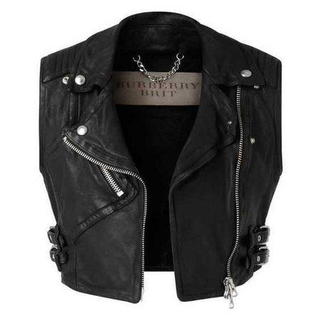 Burberry Cropped Leather Biker Waistcoat