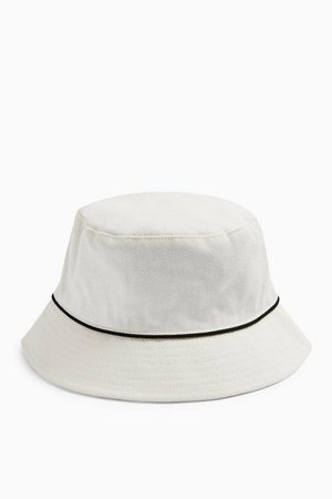 Piped Bucket Hat In White | Topshop
