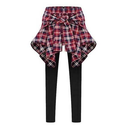 Inset Tied Around Plaid Shirt Leggings
