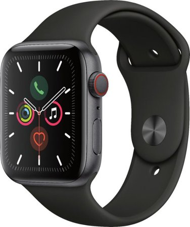 Apple Apple Watch Series 5 (GPS + Cellular) 44mm Space Gray Aluminum Case with Black Sport Band Space Gray Aluminum MWW12LL/A - Best Buy