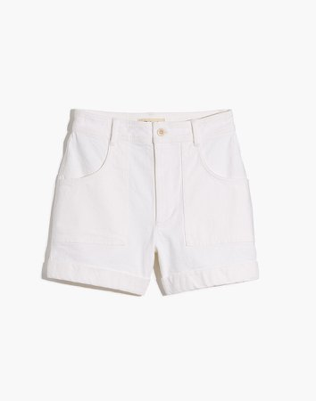 High-Rise Cuffed Denim Shorts in Tile White