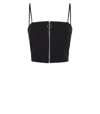 Cameo Rose Black Zip Front Crop Top | New Look