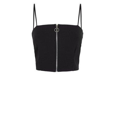 Cameo Rose Black Zip Front Crop Top | New Look