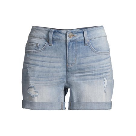 Time and Tru - Women's Mid Rise Denim Shorts - Walmart.com blue